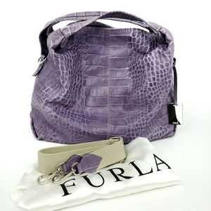 Furla XL Purple Leather Hobo Embossed Alligator